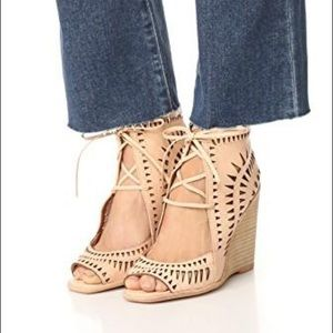 JEFFREY CAMPBELL Rodillo Tan Wedge Sandals Size 10